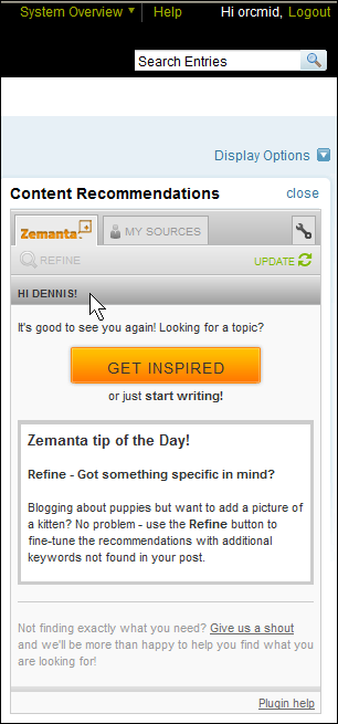 The Zemanta Panel on my Movable Type post-authoring browser interface
