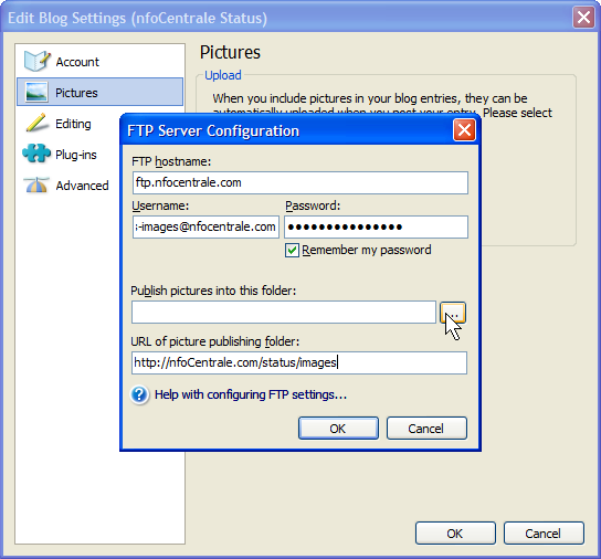 Browsing to the FTP location checks the FTP parameters