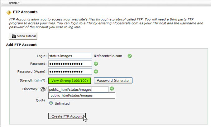 Creating an FTP Account on the Web-Hosting Account