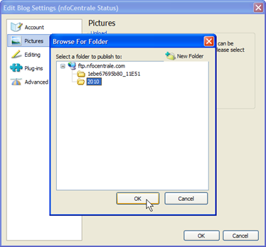Changing Windows Live Writer to use the new annualized image folder