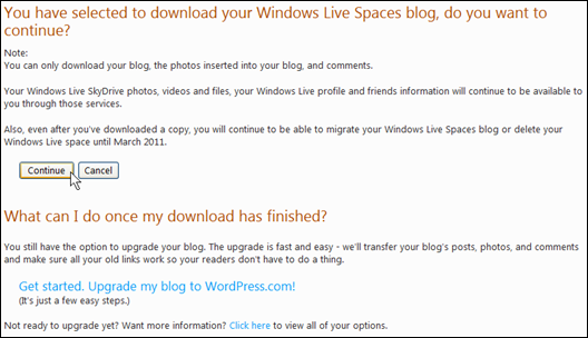 Before the download is started, information about what is downloaded and what remains in Windows Live, along with later options to migrate, are explained.
