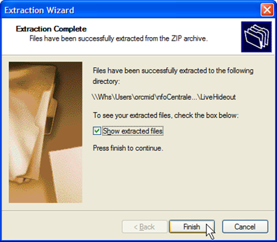Although you can examine the folder of extracted material using Windows Explorer, using the Extraction option to show the extracted files provides an interesting view.